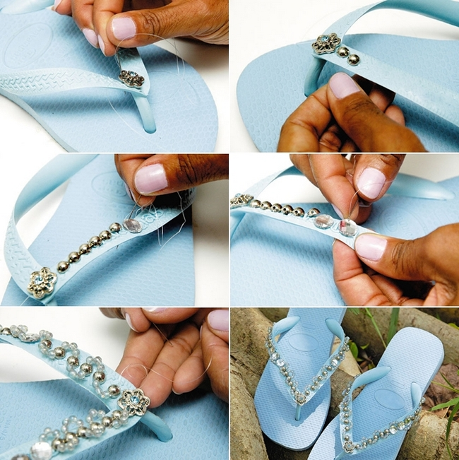 blue rubber flip flops decorating beads rhinestones