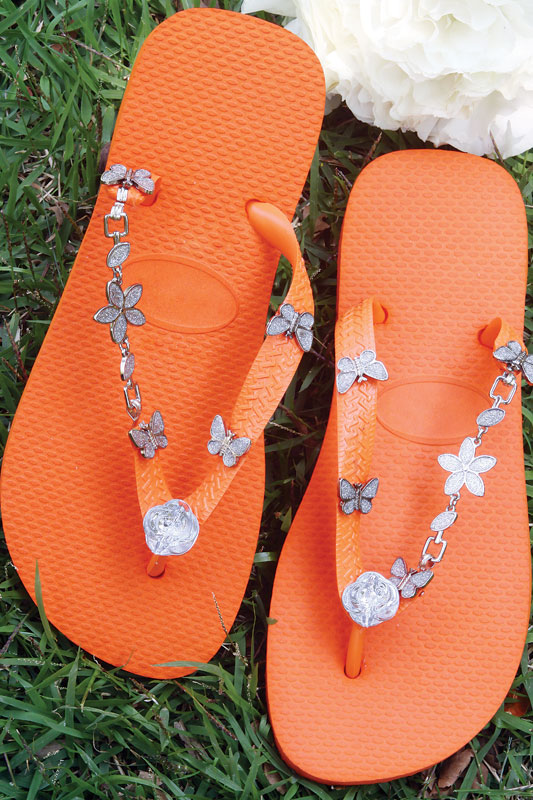 diy orange rubber flip flops decorated metall butterflies
